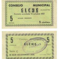 Billetes locales: 5 CÉNTIMOS 1937 ELCHE, ORIGINAL. Lote 196817918