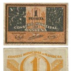 Billetes locales: 1 PESSETA MANRESA PESETA, ORIGINAL. Lote 196818047