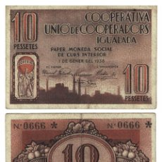 Billetes locales: 10 PESSETES 1938 IGUALADA PESETAS, ORIGINAL. Lote 196818053
