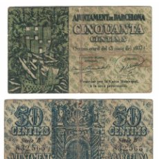 Billetes locales: 50 CÈNTIMS 1937 BARCELONA, ORIGINAL. Lote 196818075