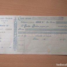Billetes locales: CHEQUE CRÉDITO BALEAR. PALMA DE MALLORCA. BALEARES. SES ILLES. TALÓN. Lote 196928612
