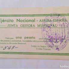 Billetes locales: F 1837 POBLA DE SEGUR EJERCITO NACIONAL 1 PESETA - JUNTA GESTORA MUNICIPAL DE ABRIL DE 1938 SC. Lote 198132756