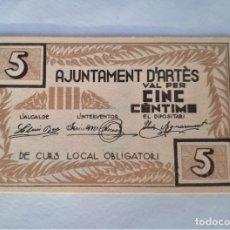 Billetes locales: F 1770 BILLETE DE ARTES AYUNTAMIENTO 5 CENTIMOS T-279 R EBC. Lote 198254108