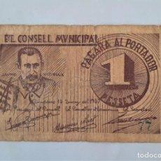 Billetes locales: F 1683 BILLETE CONSEJO MUNICIPAL 1 PESETA DE RIUDOMS T-2506 R. Lote 198254427