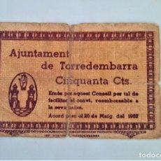 Billetes locales: F 1846 BILLETE AYUNTAMIENTO DE TORREDEMBARRA T-2954 E. Lote 198254881