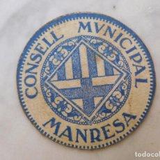 Billetes locales: BILLETE LOCAL CONSELL MUNICIPAL MANRESA 15 CENTIMS SERIE C GUERRA CIVIL. Lote 199136643