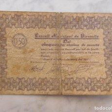 Billetes locales: BILLETE LOCAL CONSELL MUNICIPAL DE GIRONELLA 50 CENTIMS GUERRA CIVIL. Lote 199138435