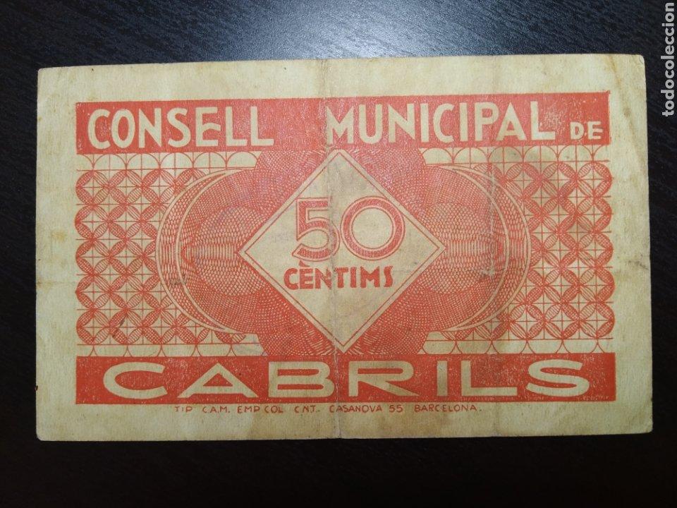 Billetes locales: Billete local 50 céntimos Cabrils (Barcelona) - Foto 2 - 199262292
