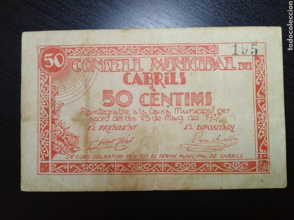 BILLETE LOCAL 50 CÉNTIMOS CABRILS (BARCELONA) (Numismática - Notafilia - Billetes Locales)