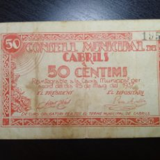 Billetes locales: BILLETE LOCAL 50 CÉNTIMOS CABRILS (BARCELONA). Lote 199262292