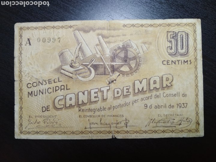 BILLETE LOCAL 50 CÉNTIMOS CANET DE MAR (BARCELONA) (Numismática - Notafilia - Billetes Locales)