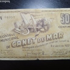 Billetes locales: BILLETE LOCAL 50 CÉNTIMOS CANET DE MAR (BARCELONA). Lote 199262611