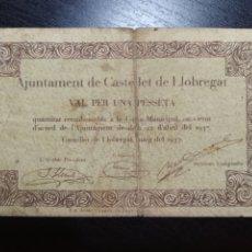 Billetes locales: BILLETE LOCAL 1 PESETA CASTELLET DE LLOBREGAT (BARCELONA). Lote 199409537