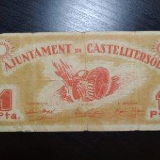 Billetes locales: BILLETE LOCAL 1 PESETA CASTELLTERSOL (BARCELONA). Lote 199410582