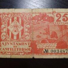 Billetes locales: BILLETE LOCAL 25 CÉNTIMOS CASTELLTERSOL (BARCELONA). Lote 199411012