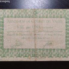 Billetes locales: BILLETE LOCAL 1 PESETA CODINES DEL VALLÉS (BARCELONA). Lote 199413115