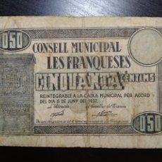 Billetes locales: BILLETE LOCAL LES FRANQUESES (BARCELONA). Lote 199500238