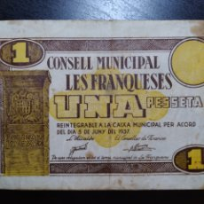 Billetes locales: BILLETE LOCAL 1 PESETA LES FRANQUESES (BARCELONA). Lote 199500662