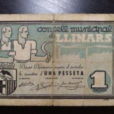 Billetes locales: BILLETE LOCAL 1 PESETA LLINARS (BARCELONA). Lote 199501748