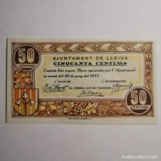 Billetes locales: ANTIGUO BILLETE - 50 CENTIMS 1937 CINQUANTA CENTIMS AJUNTAMENT DE LLEIDA GUERRA CIVIL BILLETE LOCAL. Lote 199512318