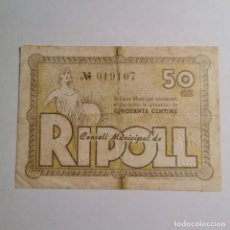 Billetes locales: ANTIGUO BILLETE 50 CTS 1937 - CINQUANTA CENTIMS - CONSELL MUNICIPAL DE RIPOLL - BILLETE LOCAL. Lote 199512831