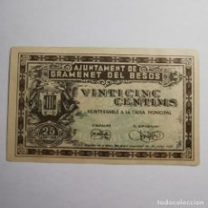Billetes locales: ANTIGUO BILLETE 25 CTS 1937 - VINT-I-CINC CENTIMS AJUNTAMENT DE GRAMENET DEL BESÓS - BILLETE LOCAL. Lote 199512951