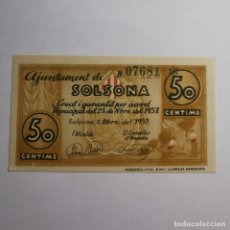 Billetes locales: ANTIGUO BILLETE 50 CTS 1937 - CINQUANTA CENTIMS - AJUNTAMENT DE SOLSONA - GUERRA - BILLETE LOCAL. Lote 199513187