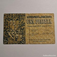 Billetes locales: ANTIGUO BILLETE 1 PTA 1937 - UNA PESSETA - AJUNTAMENT DE BARCELONA - GUERRA CIVIL - BILLETE LOCAL. Lote 199513417