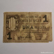 Billetes locales: ANTIGUO BILLETE 1 PTA 1937 - UNA PESSETA - AJUNTAMENT DE LA POBLA DE SEGUR (LLEIDA) - BILLETE LOCAL. Lote 199513753