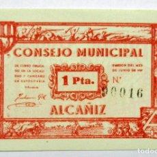Billetes locales: ALCAÑIZ (TERUEL), 1937. BILLETE LOCAL DE UNA PESETA. LOTE- 1384. Lote 199644312