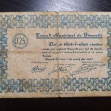 Billetes locales: BILLETE LOCAL 25 CÉNTIMOS GIRONELLA (BARCELONA). Lote 199668845