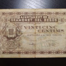 Billetes locales: BILLETE LOCAL 25 CÉNTIMOS GRAMENET (BARCELONA). Lote 199694430