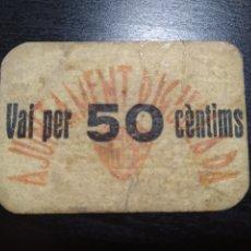 Billetes locales: BILLETE LOCAL 50 CÉNTIMOS IGUALADA (BARCELONA). Lote 199704758