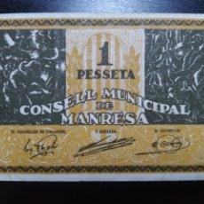 Billetes locales: BILLETE LOCAL 1 PESETA MANRESA (BARCELONA). Lote 199705436
