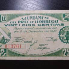 Billetes locales: BILLETE LOCAL 25 CÉNTIMOS PRAT DE LLOBREGAT (BARCELONA). Lote 199748793