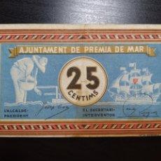 Billetes locales: BILLETE LOCAL 25 CÉNTIMOS PREMIÁ (BARCELONA). Lote 199772286