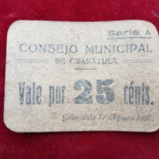 Billetes locales: BILLETE LOCAL GUERRA CIVIL GRANATULA CALATRAVA 1937 25 CENTIMOS. Lote 200038260