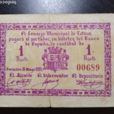 Billetes locales: BILLETE LOCAL 1 PESETA TOTANA (MURCIA). Lote 200193168