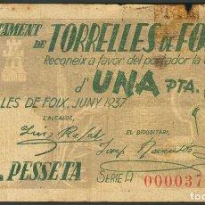 Billetes locales: TORRELLES DE FOIX 1 PESETA JUNIO 1937 SERIE A BARCELONA BILLETE GUERRA CIVIL. Lote 200563723