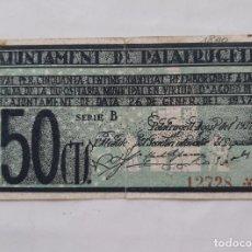 Billetes locales: F 1681 BILLETE AYUNTAMIENTO DE PALAFRUGELL 50 CENTIMOS SERIE B CON SELLO SECO T-2002. Lote 200657993