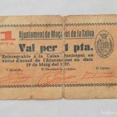 Billetes locales: F 1849 BILLETE AYUNTAMIENTO DE MAÇANET DE LA SELVA 1 PESETA T-1586 R. Lote 200660052