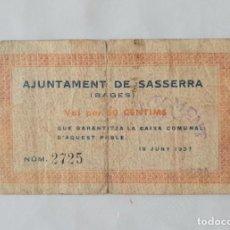 Billetes locales: F1934 BILLETE AYUNTAMIENTO DE SASSERRA 50 CENTIMOS. Lote 200763082