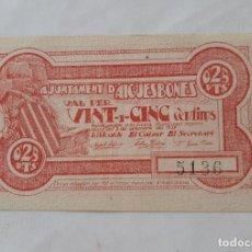 Billetes locales: F 1848 BILLETE AYUNTAMIENTO AIGÜESBONES 25 CENTIMOS T-39 EBC+. Lote 200765030