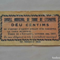 Billetes locales: F 1850 LLETE MUNICIPAL 10 CENTIMOS TORRE DE L' ESPANYOL. Lote 200761487