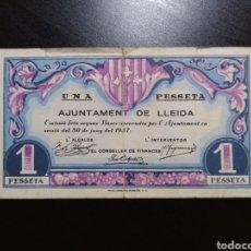 Billetes locales: BILLETE LOCAL 1 PESETA LLEIDA. Lote 200885852