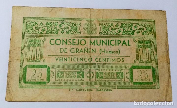 BILLETE 25 CTS HUESCA AÑO 1937 - GUERRA CIVIL (Numismática - Notafilia - Billetes Locales)