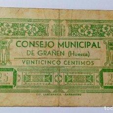 Billetes locales: BILLETE 25 CTS HUESCA AÑO 1937 - GUERRA CIVIL. Lote 201313630