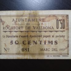 Billetes locales: BILLETE LOCAL 50 CÉNTIMOS ROCAFORT (LLEIDA). Lote 201344318