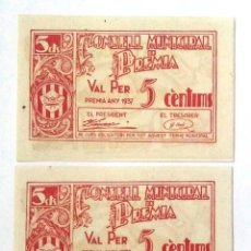 Billetes locales: 5 CÉNTIMOS PREMIÀ PAREJA CORRELATIVA SIN CIRCULAR CON APRESTO. Lote 201361397