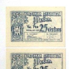 Billetes locales: 25 CÉNTIMOS PREMIÀ 1937 PAREJA CORRELATIVA SIN CIRCULAR CON APRESTO. Lote 201361668